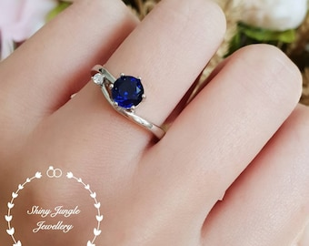 Dainty sapphire ring, delicate round sapphire ring, lab sapphire engagement ring, white gold plated sterling silver, blue gemstone ring