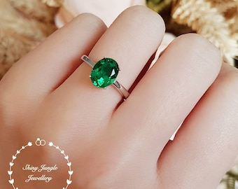 Emerald engagement ring, vivid green colour, solitaire ring, oval cut lab emerald, green stone ring, green tourmaline ring