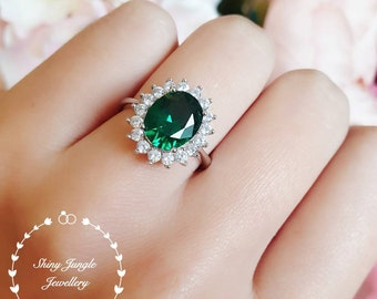 Halo emerald engagement ring, 3 ct lab emerald, vivid green, white gold plated sterling silver, green gemstone ring, cluster promise ring