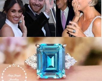Statement aquamarine ring, emerald cut 8 carats (12×10mm) lab made aquamarine, similar design to Meghan Markle's ring at her Royal Wedding