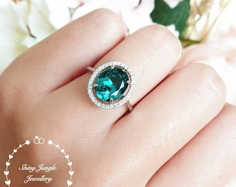 Modern halo Indicolite tourmaline ring, oval cut greenish blue tourmaline ring, white gold plated silver teal stone ring, October birthstone