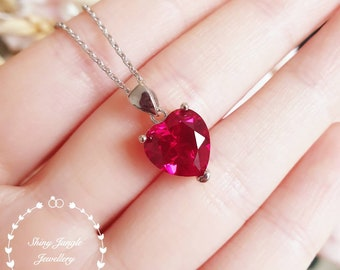 Heart shaped genuine lab grown Ruby necklace, Heart cut Ruby pendant, July Birthstone necklace gift, solitaire pendant, red heart pendant