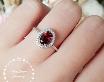 Natural oval Garnet ring, Red Garnet halo engagement ring, red stone ring, wine red, white gold plated sterling silver, January Birthstone