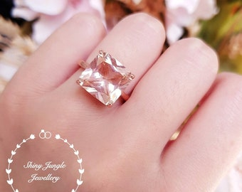 Statement Morganite ring, engagement ring, square radiant cut lab morganite, solitaire ring, pink gemstone ring, Square cut morganite ring