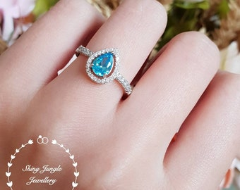 Pear cut topaz halo engagement ring, Swiss Blue Topaz ring, white gold plated sterling silver, tear drop topaz ring, pear shape topaz ring