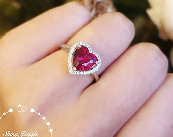 Halo Heart shaped genuine lab grown ruby ring, red heart ruby engagement ring, July birthstone ring, white/rose gold plated sterling silver
