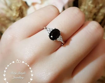 Three Stone Oval cut Black Spinel Engagement Ring, 6*8 mm Oval Faceted Black Spinel Promise Ring, Gothic Opaque Black Gemstone Ring