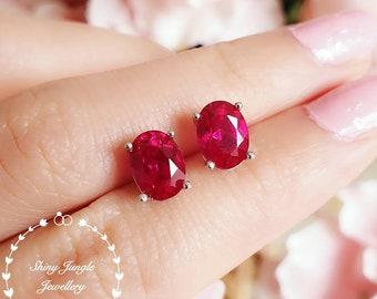 Ruby stud earrings, Oval cut lab ruby earrings, July Birthstone, bridal earrings, simple earrings, minimalist earrings, sterling silver