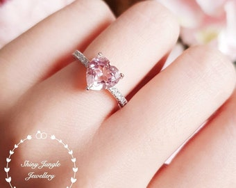 b23465ff4 Heart shaped Morganite ring, Morganite engagement ring, pink heart promise  ring, white gold plated sterling silver, pink gemstone ring