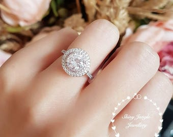 Halo engagement ring, pink diamond simulant halo ring, classic bridal, white gold plated sterling silver, bridal ring, round brilliant cut