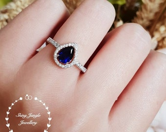 Pear cut sapphire halo ring, 1 carat lab sapphire, white gold plated sterling silver, tear drop sapphire,pear shape sapphire ring