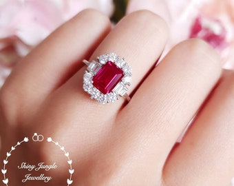 Art deco halo lab ruby engagement ring, pigeon's blood emerald cut lab ruby, white gold plated silver, vintage design ruby ring,cluster ring