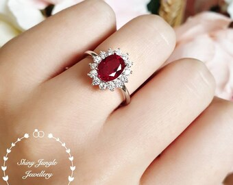 2 carats royal halo genuine lab grown ruby engagement ring, July Birthstone promise ring, white/rose gold plated silver,red gem cluster ring