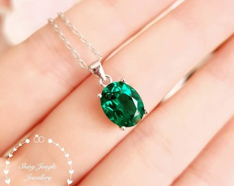 Muzo green oval emerald necklace with chain, lab emerald solitaire necklace, white gold plated sterling silver, oval cut, birthstone pendant
