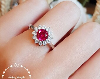 Round Ruby engagement ring, July Birthstone, Halo lab Ruby cluster ring, white gold plated sterling silver, statement ring, modern ring