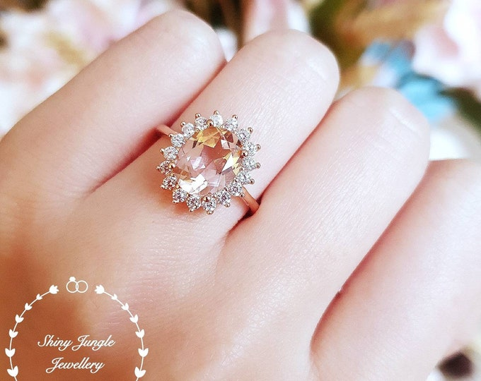 Featured listing image: Morganite Halo engagement ring, padparadscha sapphire colour, solitaire ring, vintage design, Princess Eugenie, pink stone ring, oval cut