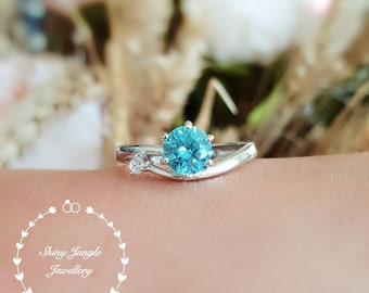 Dainty Swiss blue topaz ring, round lab blue topaz engagement ring, white gold plated sterling silver, blue gemstone ring, aquamarine ring