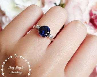 Round three stone sapphire engagement ring, lab sapphire promise ring, white gold plated silver, blue gemstone ring, September Birthstone