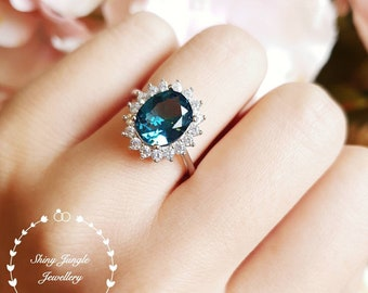 Royal Halo style London blue topaz engagement ring, 3 carats oval cut blue topaz promise engagement ring, white gold plated sterling silver