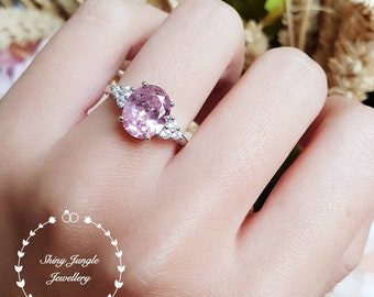 Oval pink diamond ring, engagement ring, 3 carats oval cut fancy pink diamond ring, Barbie pink ring, yellow diamond promise ring
