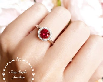 Genuine lab grown Pigeon's Blood Ruby Halo Engagement Ring, 1 carat 6 mm round cut ruby, white/rose gold plated silver, red gemstone ring