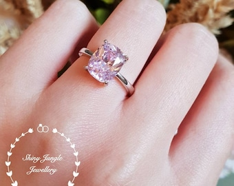 Cushion Cut Pink Diamond Engagement Ring, 3 carats 8*10 mm fancy light pink diamond simulant ring, pastel pink simple solitaire ring