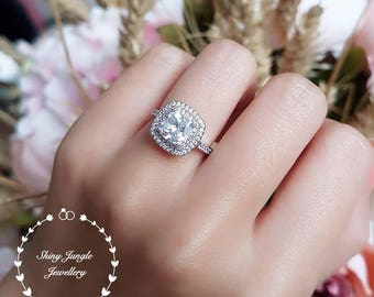 Halo engagement ring, pink diamond simulant halo ring, classic bridal, white gold plated sterling silver, bridal ring, cushion cut