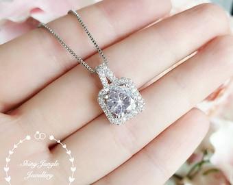 Classic diamond necklace, 1.5 ct round brilliant cut diamond simulant pendant, unique square halo design, white gold plated sterling silver
