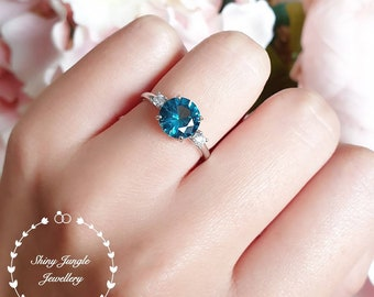 Round London Blue Topaz engagement ring, three stone ring, lab topaz promise ring, white gold plated sterling silver, blue gemstone ring
