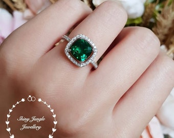 Emerald Halo Ring Etsy