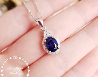 Oval sapphire pendant, 2 carats lab sapphire necklace with chain, halo sapphire necklace, September birthstone, blue stone pendant