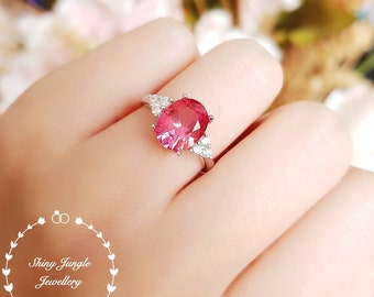 Padparadscha sapphire engagement ring, oval three stone style ring, September birthstone, statement ring, white gold plated sterling silver