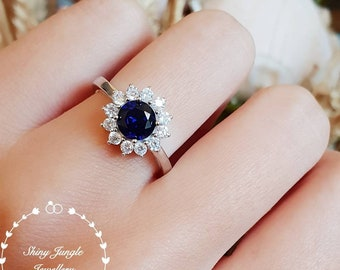Round sapphire halo engagement ring, September Birthstone, lab sapphire cluster ring,white gold plated sterling silver,modern statement ring