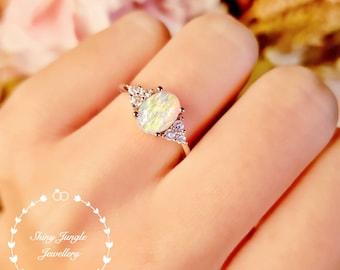 Three Stone Style Opal Engagement Ring, 6*8 White Fire Opal Cabochon Ring, October Birthstone Promise Ring, Modern Opal Ring, Delicate Ring