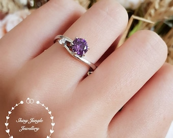 Dainty Amethyst ring, round faceted amethyst solitaire ring, white gold plated silver, purple stone ring, February birthstone, purple quartz