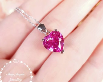 Heart Shaped Genuine Lab Grown Pink Sapphire Necklace, Heart Cut Pink Sapphire Pendant, September Birthstone gift, Hot Pink Heart Pendant