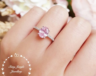 Pink diamond engagement ring, 1.5 carats oval cut fancy pink diamond ring, pastel pink ring, pink diamond solitaire ring, sterling silver