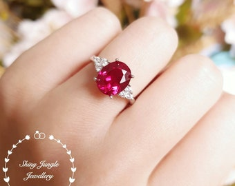 Oval ruby engagement ring, July Birthstone promise ring, 3 carats lab created ruby three stone ring, white/rose gold plated sterling silver