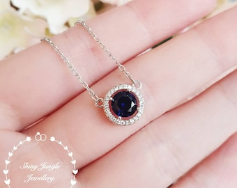 Delicate Halo Round sapphire necklace, 1 carat Royal Blue lab sapphire necklace with chain, solitaire necklace, September birthstone gift