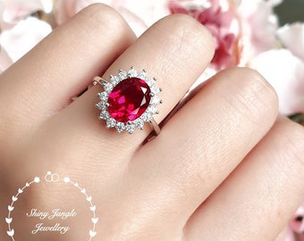 Royal halo design genuine lab grown ruby engagement ring, July birthstone promise ring, white/rose gold plated silver, red gem cluster ring