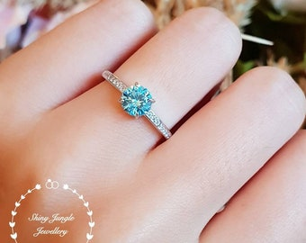 Round Swiss blue topaz ring, delicate lab blue topaz engagement ring, white gold plated sterling silver, blue gemstone ring, aquamarine ring