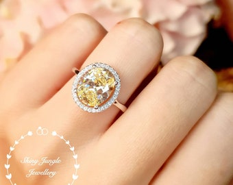 Halo pastel yellow diamond promise ring, 3 ct 8*10 mm Oval yellow diamond simulant engagement ring, white/rose gold plated sterling silver