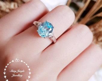 Classic oval aquamarine ring, Modern aquamarine ring, 3 carats oval lab aquamarine, Meghan Markle ring, Royal Wedding ring, Diana Ring