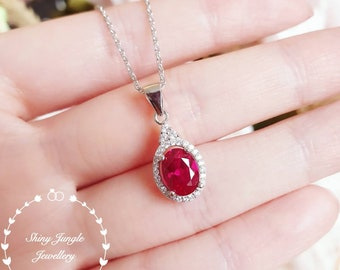 Oval Ruby necklace, Halo Ruby pendant, July birthstone pendant, halo cluster design, white gold plated sterling silver, oval cut lab ruby
