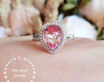Gradient pink tourmaline ring, bi-color tourmaline ring, pear cut tourmaline, faceted tourmaline ring, tear drop ring, watermelon tourmaline