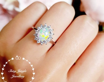 Halo Opal engagement ring, 6*8 mm white opal cabochon ring with diamond simulants halo, October Birthstone promise ring,  modern Opal ring