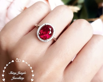 Genuine lab grown Pigeon's Blood Ruby Halo Engagement Ring, 3 carats 8×10 mm oval cut ruby, white/rose gold plated silver, red gemstone ring
