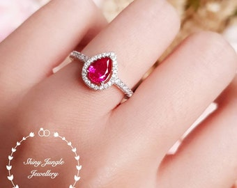 Pear cut ruby halo ring, 1 carat lab sapphire, July Birthstone, white gold plated sterling silver, tear drop ruby, pear shape ruby ring