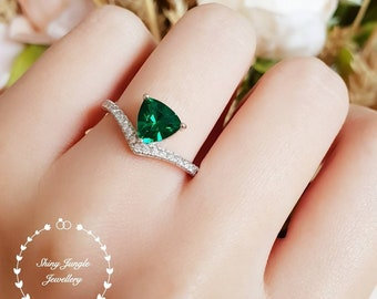Trilliant cut emerald ring, tiara ring, emerald engagement ring, green gemstone ring, triangle ring, white gold plated silver