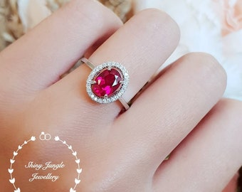 Halo Ruby engagement ring, July Birthstone, oval lab Ruby cluster ring, white gold plated sterling silver, statement ring, modern ring